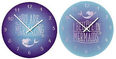 30cm Mermaid Design Decorative Wall Bedroom Nursery Clock - Design Varies