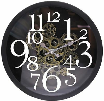Metal Glass Vintage Style Cog Gear Style Decorative Round Wall Clock