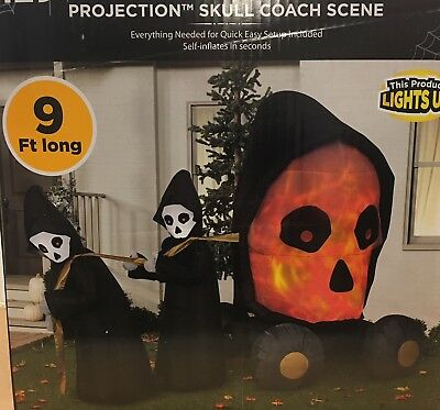 GRIM REAPERS PULLING SKULL SWIRLING LED SCENE Halloween Airblown Inflatable Prop