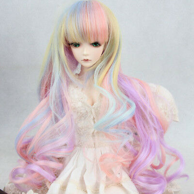 8-9'' 22-24cm 1/3 BJD SD Doll Pink Colorful Ombre Long Curly Hair Cosplay Wig