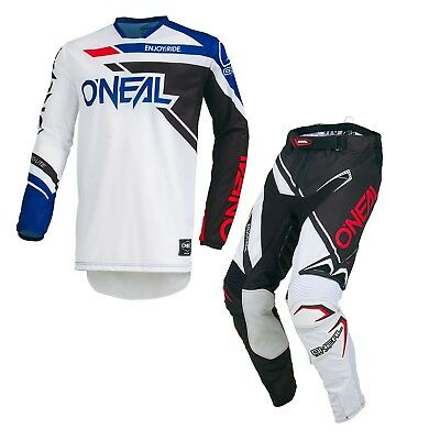 Oneal ADULT Hardware Rizer MX Motocross Racing Jersey and Pants 2019 BLACK WHITE