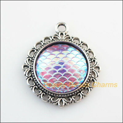 2 New Charms Round Flower Scale Resin Pendants Tibetan Silver Tone 30x35mm