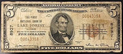1929 Five Dollars Nat'l Currency, First National Bank of Lake Forest, Illinois!