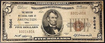 1929 Five Dollars Nat'l Currency, The American National Bank, Arlington, IA!