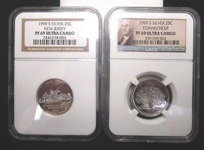 Lot Of (2) 1999-S Silver Proof State Quarters - Nj & Ct - Ngc Pf 69 Ultra Cameo