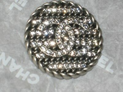CHANEL 1 SILVER CC LOGO FRONT clear RHINESTONES  BUTTON  22 MM /   1 '' NEW