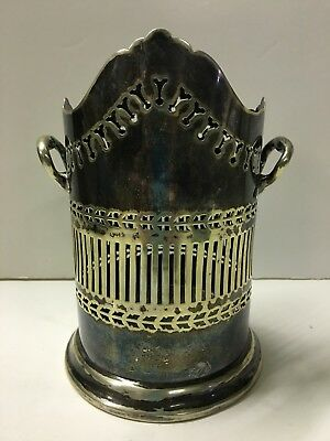 Antique Ornate Silver Plate Tall Wine Holder  w Reticulated Cut Out Pattern