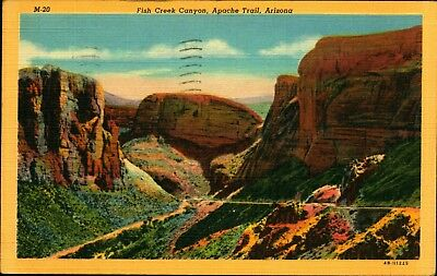 APACHE TRAIL AZ, Fish Creek Canyon, 1946 Linen Vintage Postcard AZ499718