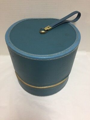 Vintage Hat Wig Box Large Blue 9.5 inches High Handle