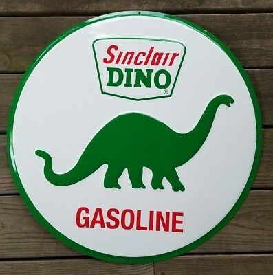 """Sinclair Dino Gasoline Gas Oil Company 24"""" Wide Embossed Metal Advertising Sign"""