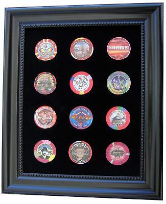 8x10 BLACK DISPLAY PICTURE FRAME FOR 12 CASINO POKER CHIPS (NOT INCLUDED)