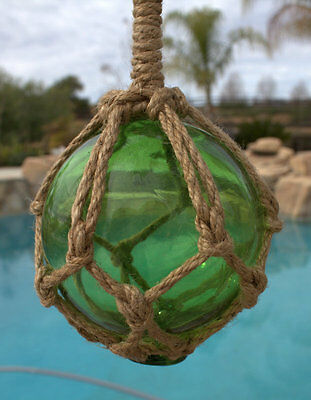 "5.5"" Green Glass Buoy Float Rope Nautical Ball Bouy Tiki Fishing"