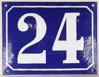 Large old blue French house number 24 door gate plate plaque enamel steel sign