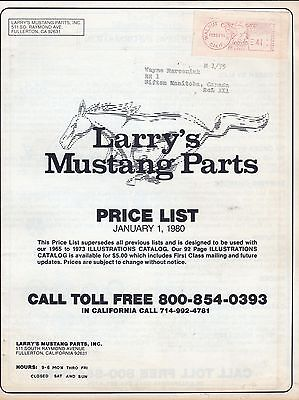 Vintage Larry's  Mustang Parts Price List Catalog January 1978 Ford Mustang gwc1