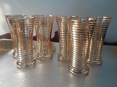 Gorgeous Mid Century ~ Set of 6 Gold Striped Tapered Glasses Barware/Juice XLNT!