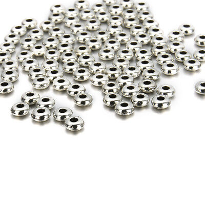 100pcs/lot Round Silver Metal Steel Spacer Beads DIY Jewelry Charms Findings