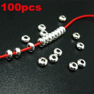 100Pcs Lots Silver Stainless Steel Round Spacer Beads DIY Jewelry Making Craft