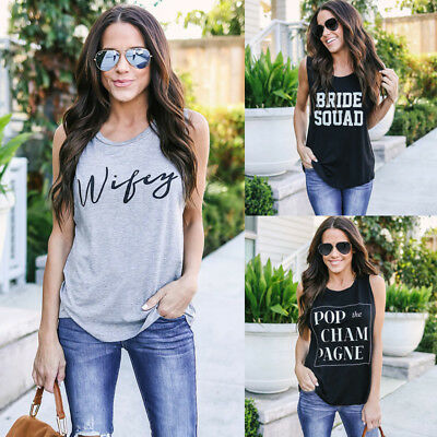 New Women Wifey/BRIDE SQUAD Vest Top Sleeveless Blouse Casual Tank Tops T-Shirt