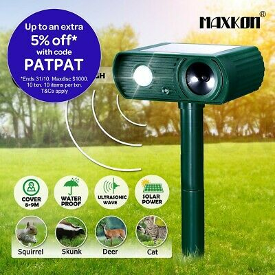 Maxkon Ultrasonic Solar Power Animal Bird Repellent Repeller Pest Control LED