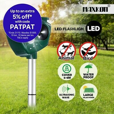 Maxkon Animal Bird Repellent Repeller Solar Power Ultrasonic Pest Control LED