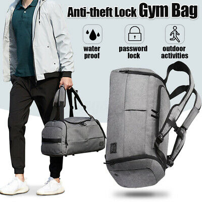 eb4c9e12e6a9 Waterproof Lock Travel with Shoes Compartment Handbag Backpack Duffel Gym  Bag
