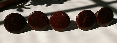 5 Antique Ceramic Drawer Pulls / Knobs with Wood Grain Effect