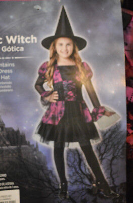 Girls Halloween Gothic Witch 2 Pc Costume Outfit M8 10 L