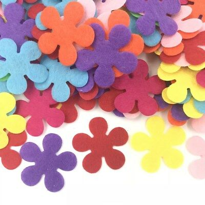 100Pcs Flowers shape Felt Appliques Mixed Colors Decorative clothing Crafts 28mm