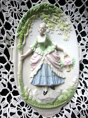 """Vtg """"CHASE"""" Hand-Painted Victorian Woman 3-D Wall Plaque Occupied Japan Porcelai"""