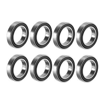 Deep Groove Ball Bearing 6802-2RS Double Sealed, 15mmx24mmx5mm Carbon Steel 8Pcs