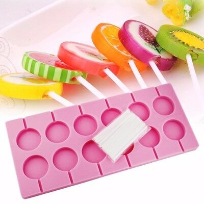 12 Round Shape Silicone Lollipop Mould Tray Candy Chocolate Lollypop Mold NE8