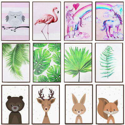 Cartoon Animal Green Plant Canvas Poster Nordic Art Prints Room Wall Home Decor