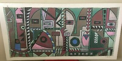 "R. Atkins Original Abstract Cubist Surreal Painting On Canvas  Signed 30"" X 60"""