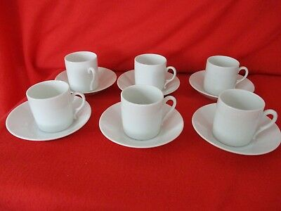 6 x Expresso Coffee Cups & Mismatched Saucers - White Ceramic Crockery