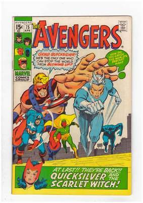 Avengers # 75 Quicksilver & the Scarlet Witch grade 8.5 scarce book !!