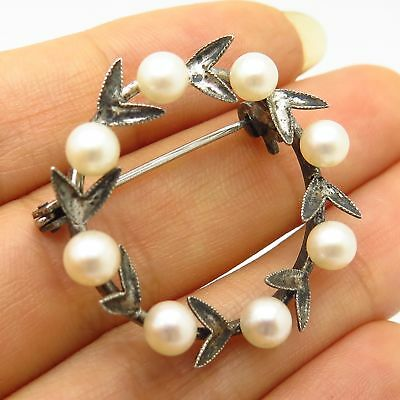 Antique 925 Sterling Silver Real Pearl Wreath Design Pin Brooch