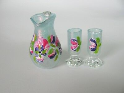 dollhouse doll house miniature  GLASS PITCHER AND GLASSES SET OF 3 BLUE