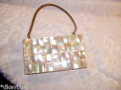 Gorgeous Vintage MOTHER OF PEARL, Gold Tone Metal Evening Bag, Circa 1940's 50's