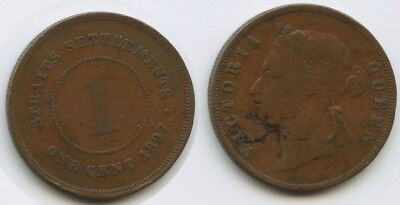 G6146 - Straits Settlements 1 Cent 1897 KM#16 Victoria Queen Malaysia