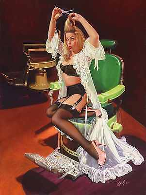 Vintage BARBER CHAIR Shop PINUP Sheer Delight VANCAS GIRL Pin-Up Elvgren 26x18