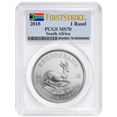 2018 South Africa Silver Krugerrand 1oz PCGS MS70 First Strike Label