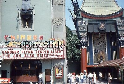 1957 Hollywood Street Scene Theater Marquee The Sun Also Rises 35mm Slide