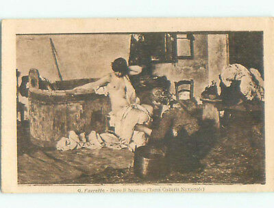 Unused Pre-Linen foreign risque TOPLESS WOMAN BESIDE WOODEN BATH TUB J4219