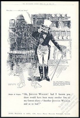 1922 Johnnie Walker Scotch Whisky Samuel Pepys ghost UK vintage print ad