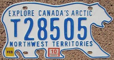 2010 NORTHWEST TERRITORIES Canada License Plate Polar Bear NWT #T28505