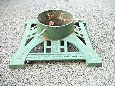 Antique Vintage Cast Iron Green Christmas Tree Stand weighs 16 lbs
