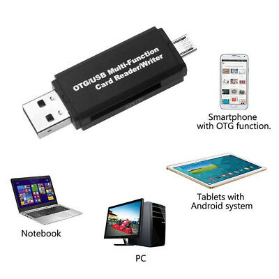 White Micro USB OTG to USB 2.0 Adapter Micro SD Card Reader w/ standard USB Male