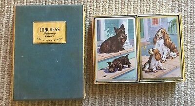 Vtg Double Deck Playing Cards - Congress - Scottie Dogs Spaniels - Cel-u-tone