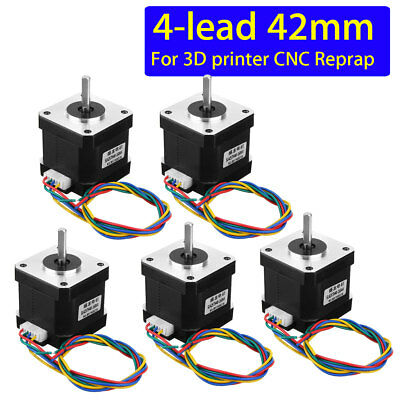 5Pcs Nema 17 Stepper 42 Reprap Motor 1.8° 4-Lead Cable 3D Printer/CNC 42x42x40mm