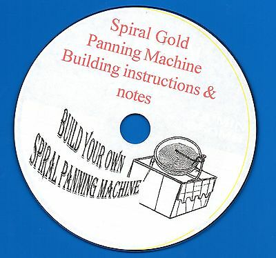 MINERS-Build your own Spiral GOLD Panning Machine Instructions on CD-ROM